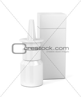 White nasal spray bottle and plastic box