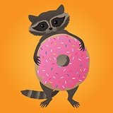Cute little raccoon with donut
