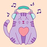 Cute little cat listening to the music