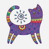 Abstract cat with traditional pattern