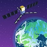 GPS Satellite Orbiting Earth in Space