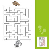 Education Maze or Labyrinth Leisure Game with Elephant and Peanuts with answer