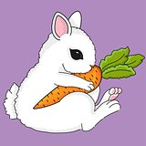 Cute little bunny with carrot