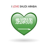 Love Saudi Arabia symbol. Flag Heart Glossy icon