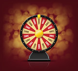 Black Fortune wheel with on bokeh background for online casino, poker, roulette, slot machines, card games. realistic 3d fortune wheel object isolated