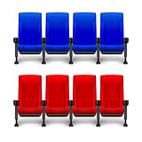 Set of realistic comfortable movie chairs for cinema theater. Cinema empty red and blue seats. Vector illustration