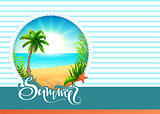 Summer text greeting card beach holidays. Palm tree, sea, sun and sand paradise vacation