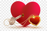 Love is key to heart of your beloved. Red heart shape lock and key