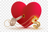 Money dollar is key to heart of your beloved. Red heart shape lock and key with key ring home