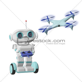 3D Illustration Robot with Quadrocopter