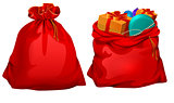 Full gift open and closed santa claus red bag