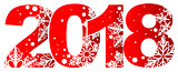 New year 2018 red number with white snowflakes