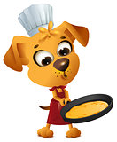 Fun yellow dog cook to make pancake in frying pan