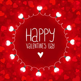 Red vector background with lights for Valentines day