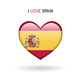 Love Spain symbol. Flag heart glossy icon