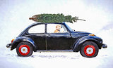 dog driving car with Christmas tree impressionism