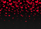 Seamless hearts border on dark background vector illustration tempate, happy valentines day decoration element.