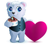 Pretty white bear holds basket ice cream and red heart symbol of love. Gift for Valentines Day