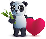 Valentines Day. Bear panda holds stalk of bamboo and red heart