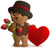 Pretty brown bear in hat holds strawberry berry and red heart symbol of love. Gift for Valentines Day