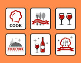 concept restaurant icons set