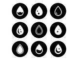 drop on black round icons set