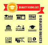 education concept icon set with red tape