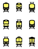 isolated train icons set