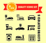 parking icon set with red tape accent