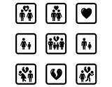 people divorce concept icons set