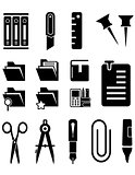 stationery isolated icons set