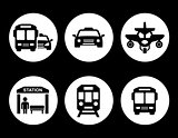 transport set on round icons