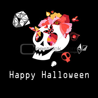 Greeting card with skull to Halloween