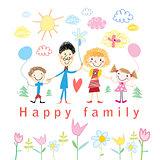 Cartoon baby drawing happy family