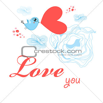Greeting card to the day of all lovers with a bird