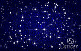 Constellation of Cancer in a starry blue sky