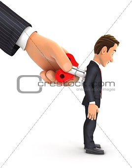3d big hand turning wind up key on businessman back