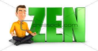 3d man doing meditation next to the word zen