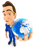 3d mechanic holds blue earth