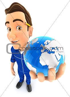 3d mechanic holds blue earth
