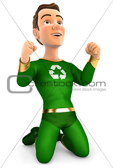 3d successful green hero on his knees