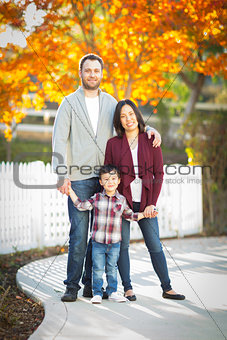 Outdoor Portrait of Mixed Race Chinese and Caucasian Parents and