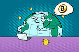 planet character reads the news on bitcoin