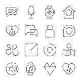 Simple icons set. Different icons for app, programs, sites and other. Editable Stroke