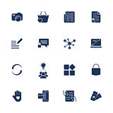 Different simple universal icons for sites, apps, programs. Camera, messenger, laptop, social network, lock and other.