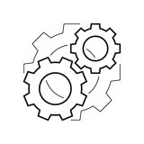 Cogwheels mechanism outline icon