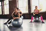 Girls working out at a gym with the gymball