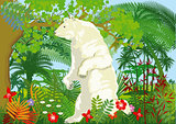 Global warming with polar bear in the jungle, illustration