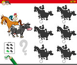 shadow activity game with farm animals characters