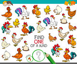 find one of a kind with chicken animal characters
